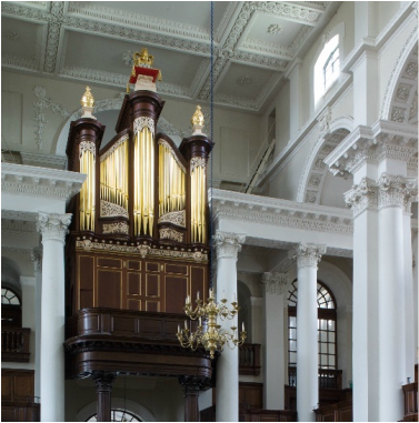 The restored pipe organ in Christ Church, Spitalfields. London