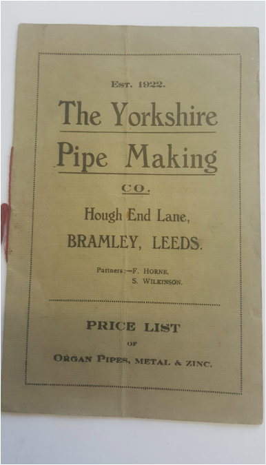 The front cover of the price list from the 1930s produced by the Yorkshire Pipe Making Company of Leeds.