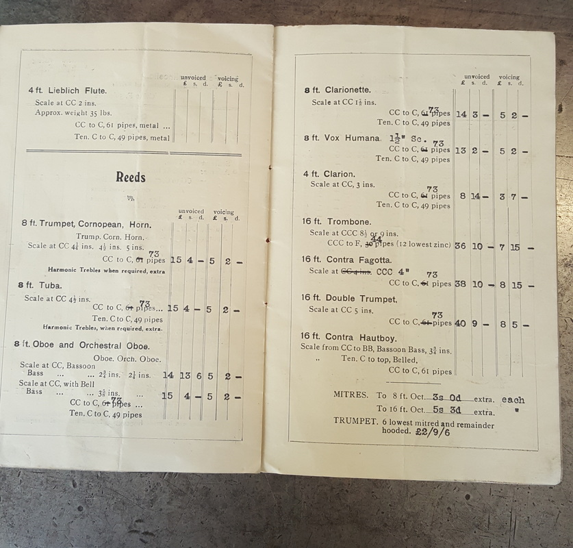 Bargain price tubas - a page from the 1930s price list produced by the Yorkshire Pipe Making Company of Leeds.