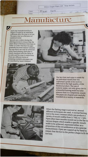 A page of a promotional catalogue produced in 1983? by the now defunct Leeds pipe-making company of F J Rogers. In the top- picture,  Terry Shires can be seen planing metal.