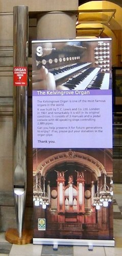 Display poster for appeal for Kelvingrove Organ, Glasgow.