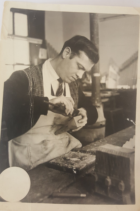 John Warr, aged 19, on his first day at work as a pipe maker in 1953.