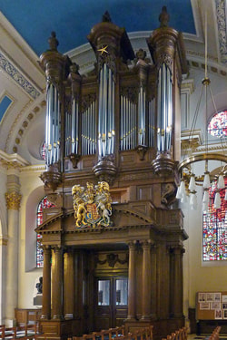 Display pipes by Shires on the Tickell organ of St Mary-le-Bow, London.
